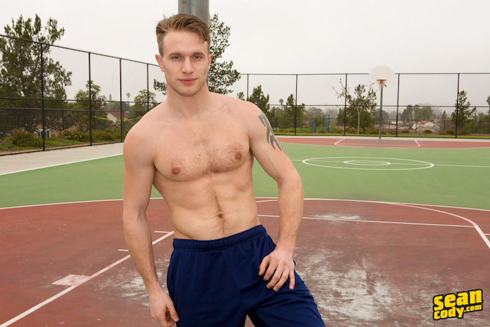 hairy sporty jock shirtless outside