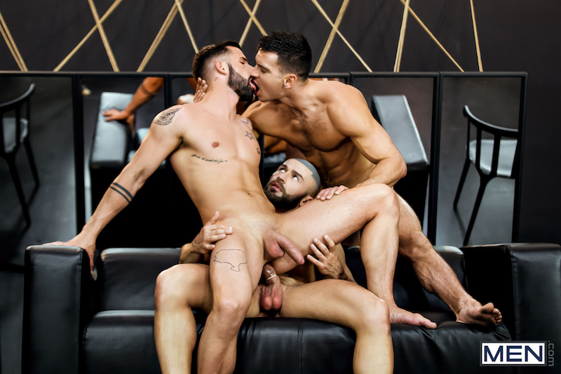 hung jock riding a cock in a threesome
