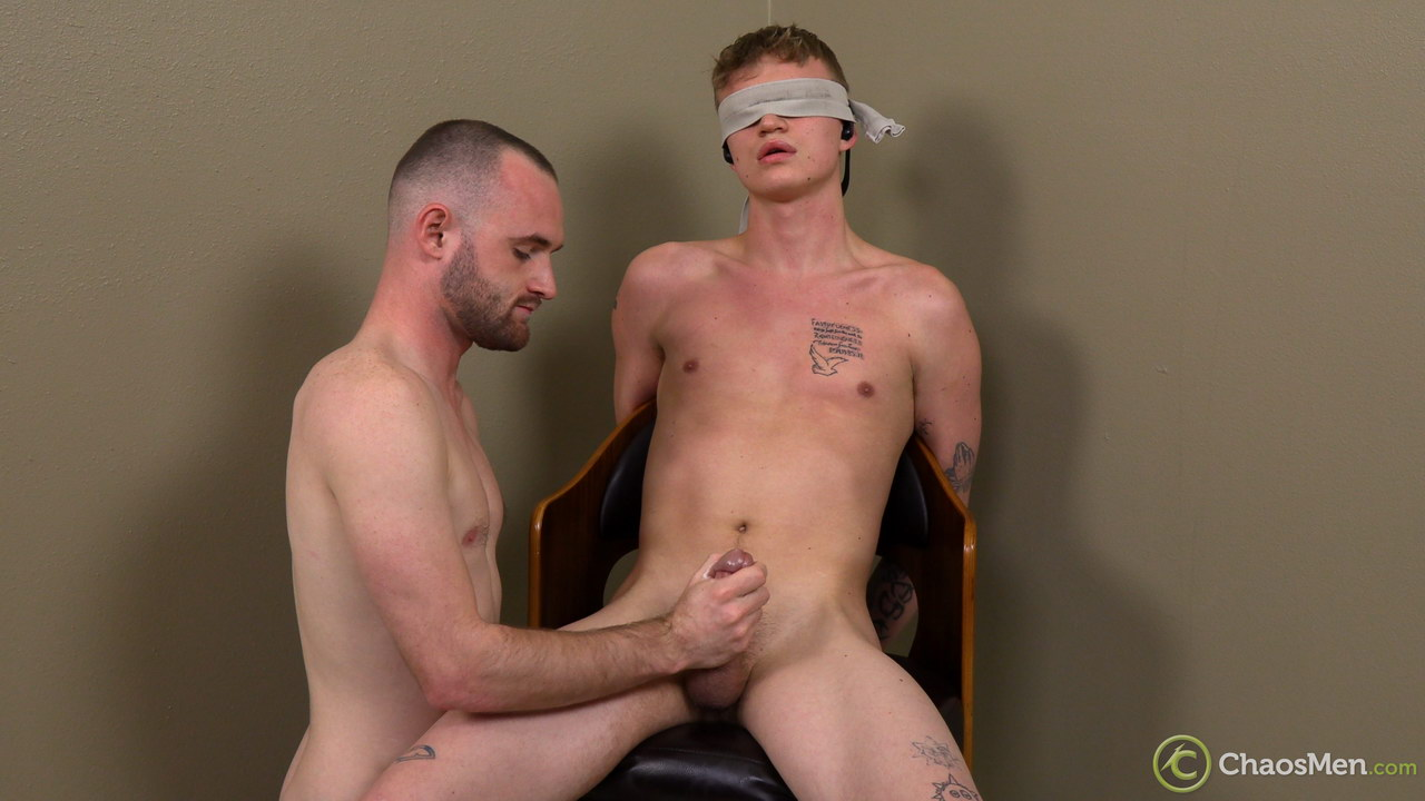 Gay hand job for a blindfolded boy