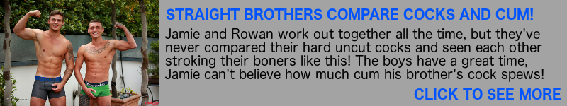 Brothers comparing cocks and jerking off together