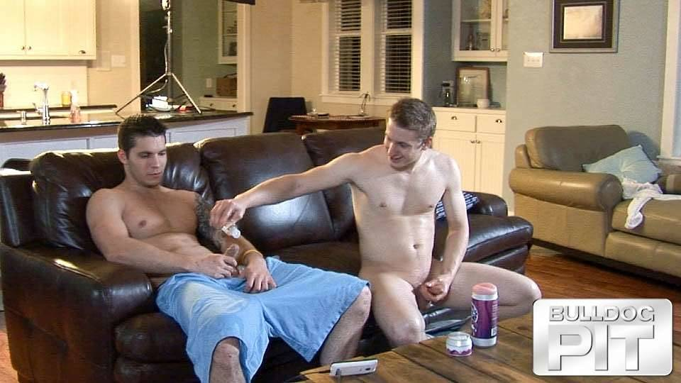 straight jock pours lube on his friend's dick