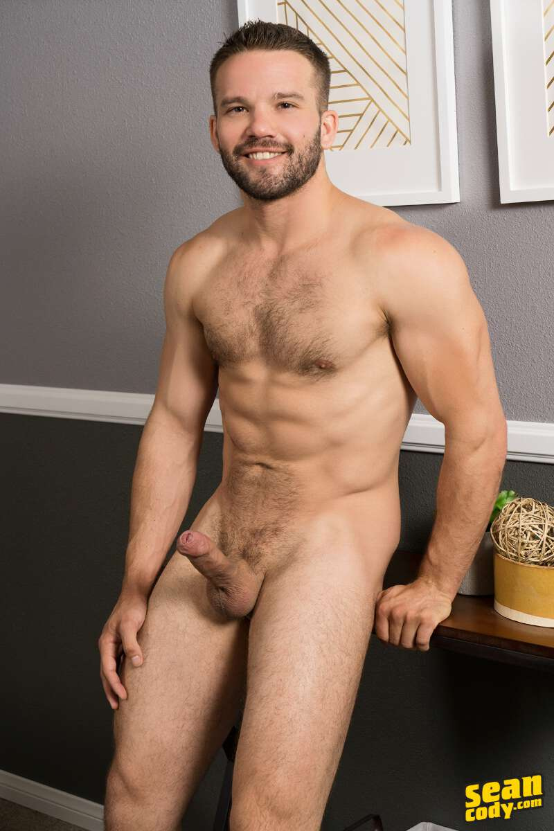 hairy jock Jackson naked and hard at Sean Cody