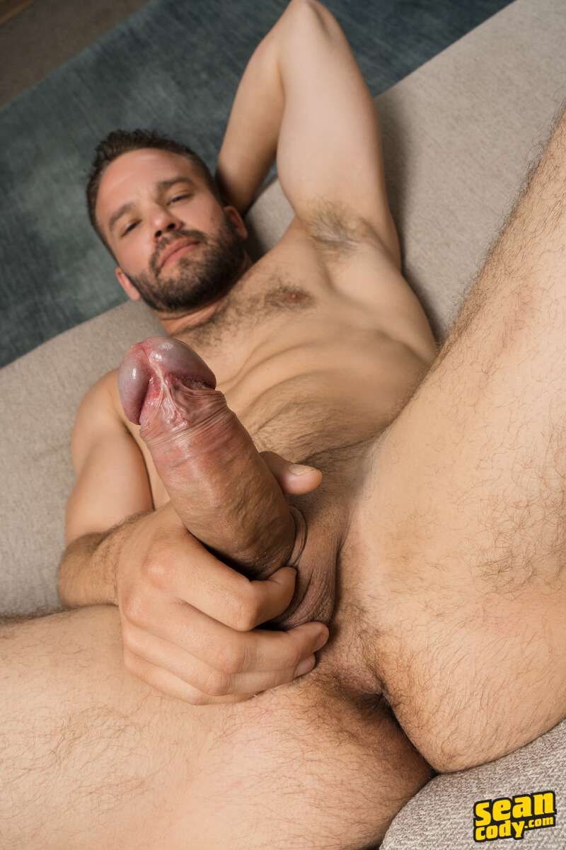 naked hairy jock Jackson jerking off on video at Sean Cody