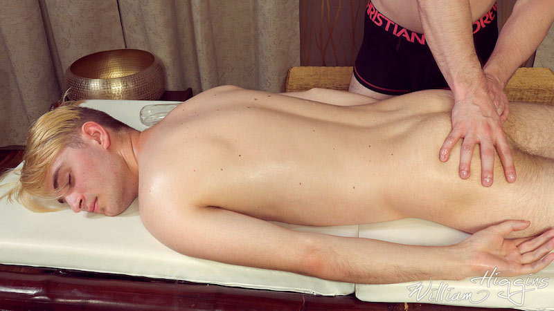 naked twink on a massage table